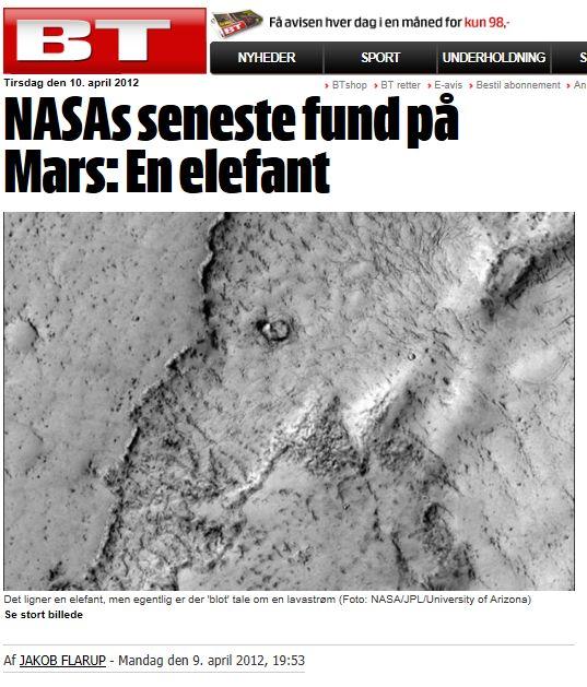 BT skriver om NASA-elefant på Mars